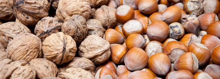 dettaglio di frutta con il guscio: noci e mandorle