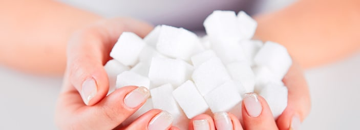 dettaglio di zollette di zucchero